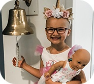 Kinsley ringing the cancer-free bell