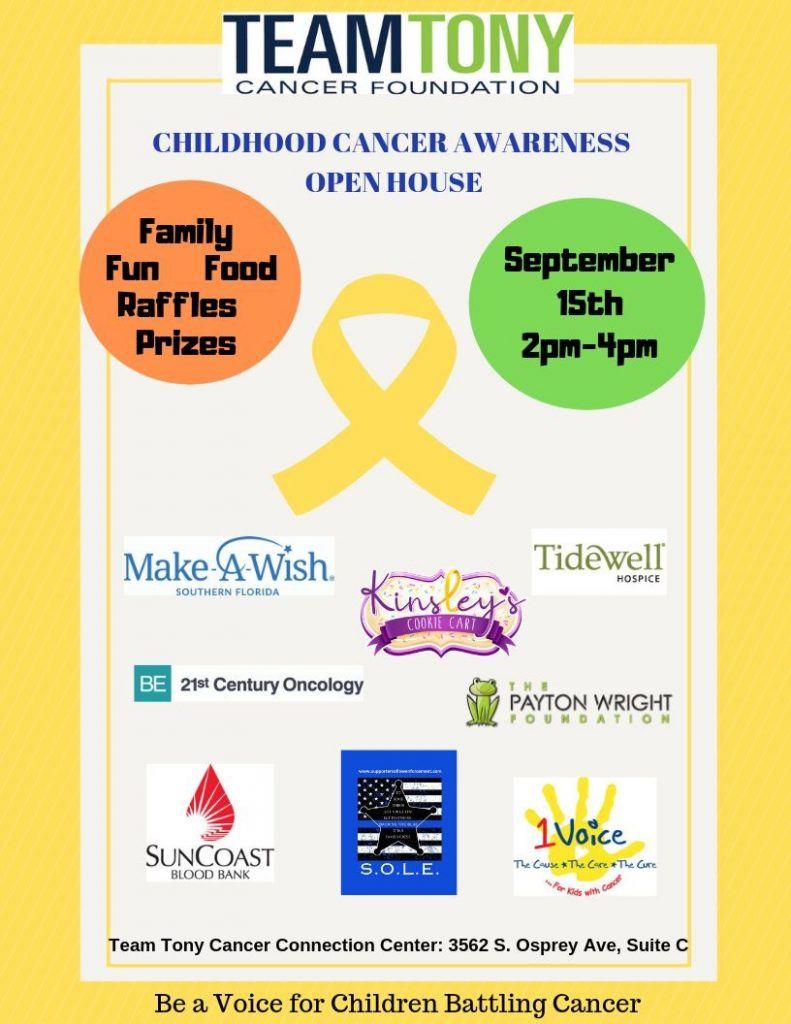 flyer for Childhood Cancer Awareness Open House