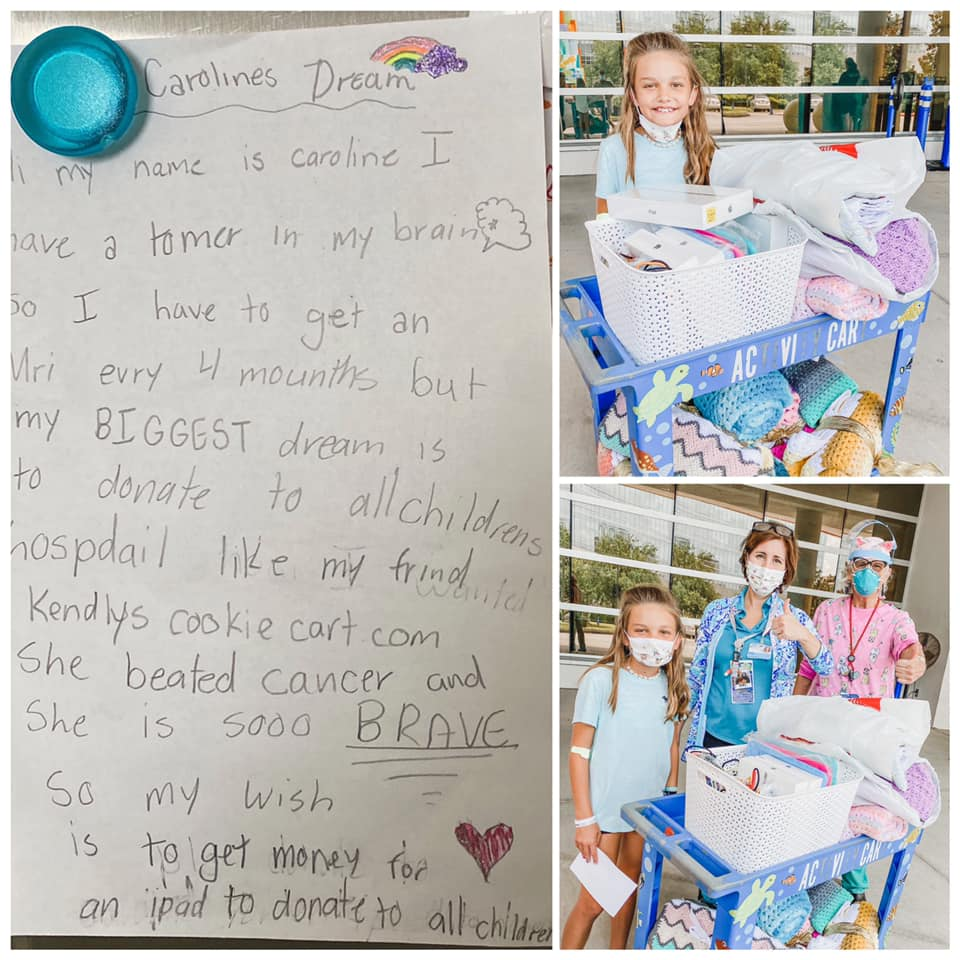 A letter from Caroline and Caroline with a cart of donations and