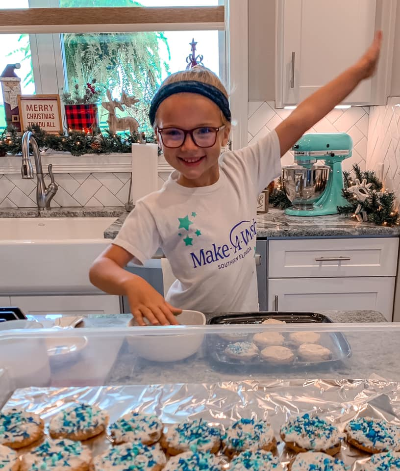 Kinsley making cookies